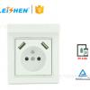厂批发欧式墙壁插座 2.1A双USB欧式充电器插座 插座面板