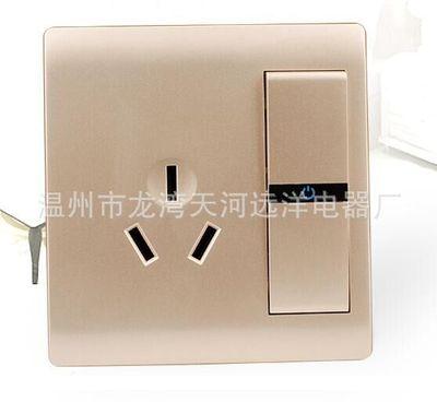 大板金系列86型暗装一开16A三极插座大板单联墙壁开关银触点