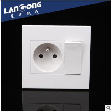 厂家直销 卡入式功能键 86型插座面板 一位法式+一位开关墙壁插座