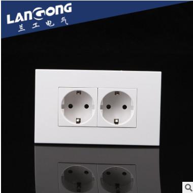 卡入式功能键插座面板 两位德式墙壁开关插座 86型面板墙壁插座