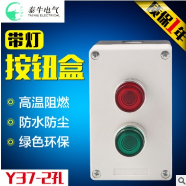 二孔Y37防水盒按钮开关控制按钮 2孔带指示灯按钮盒开孔22mm白色