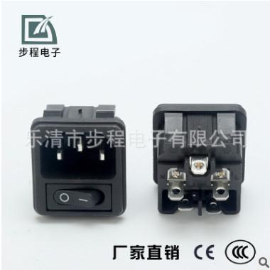 厂家供应 二合一带开关电源插座 AC-02A-01品字卡式插座 开关插座