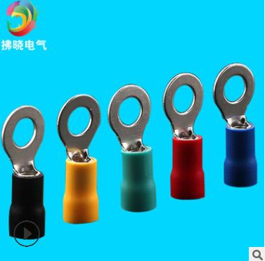 RV5.5-6黄色圆形预绝缘端头 冷压接线端子 环形铜线耳 RV6-6铜鼻