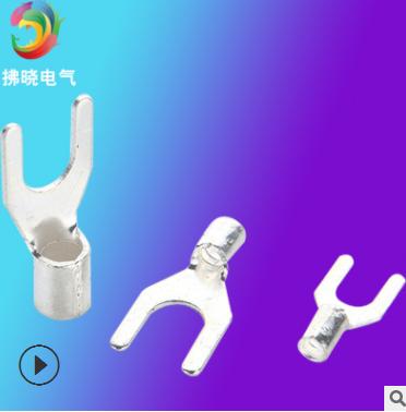 线叉UT6-6 叉形型线耳 叉口接线端子 冷压接线端头U型铜鼻