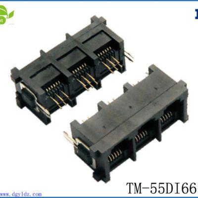 供应低价批发RJ11 6P6C带铁脚PCB JACK电话插座接口