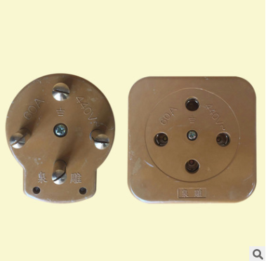玻璃钢三相四插头插座 三相四线插头插座 60a 工业插头插座440V
