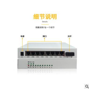 八口百兆物理隔离光纤收发器 8路100M光端机隔离 光电转换器单模
