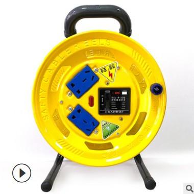 泽优电缆盘厂家直供移动卷线盘电缆收线器带漏电保护拖线盘线轴